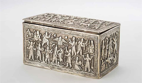 Repousséd silver box showing Zoroastrian scenes, Bombay, 19th century, silver