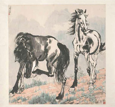 A Pair of Horses, Xu Beihong, China, c. 1940, Chinese ink and colour on paper
