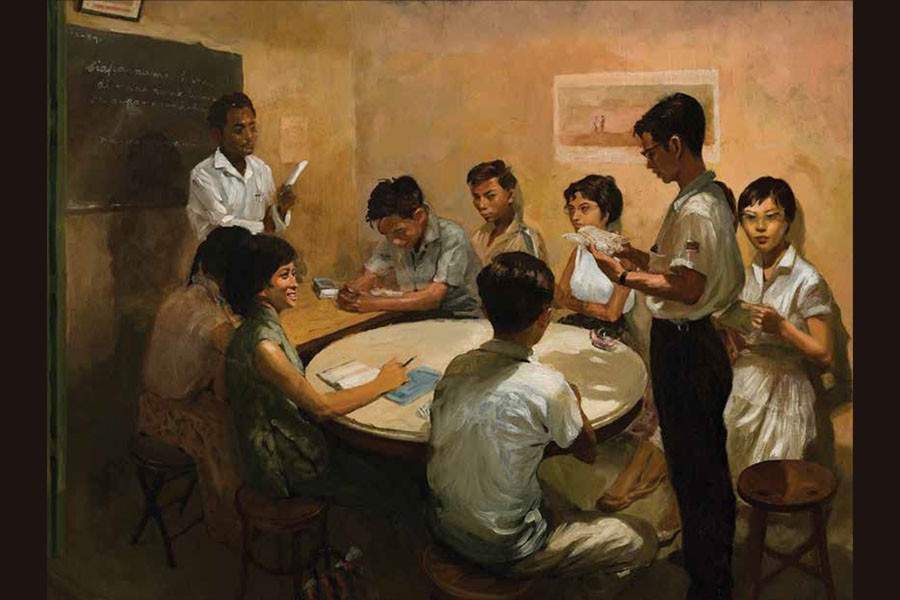 National Language Class, Chua Mia Tee, Singapore, 1959, oil on canvas