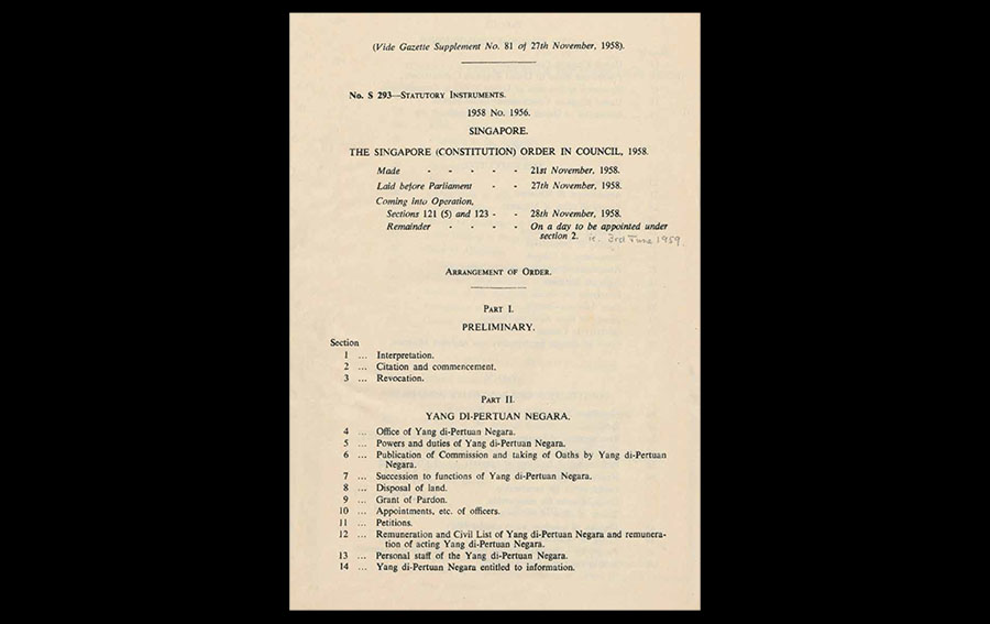 Singapore (Constitution) Order in Council, 21 November 1958, Singapore