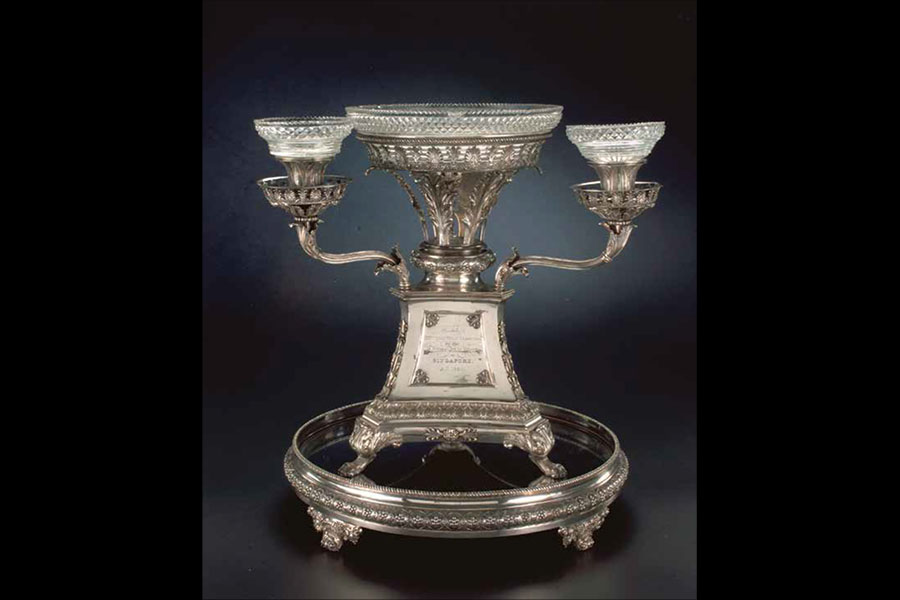 Silver epergne presented to William Farquhar, Singapore and England, 1824, silver