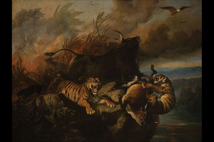 Boschbrand (Forest Fire), Raden Saleh, Indonesia, 1849, oil on canvas