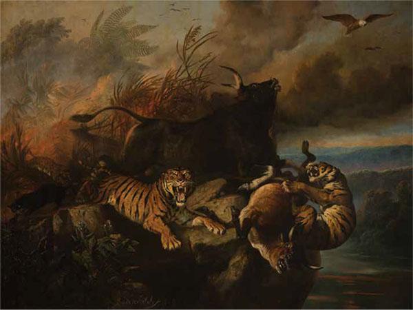 Boschbrand (Forest Fire), Raden Saleh, Indonesia, 1849, oil on canvas