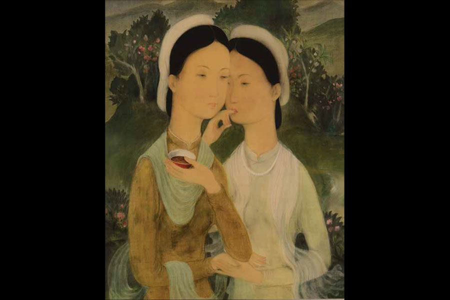 Harmony in Green: The Two Sisters, Lê Phổ, Vietnam, 1938, gouache on silk