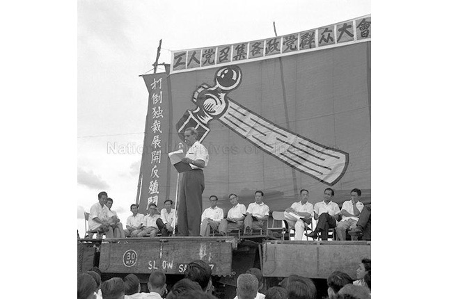 David Marshall at a 1962 Worker's Part Rally