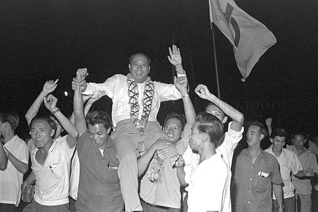 Dr Goh Keng Swee celebrating victory at 1963 Legislative Assembly General Elections