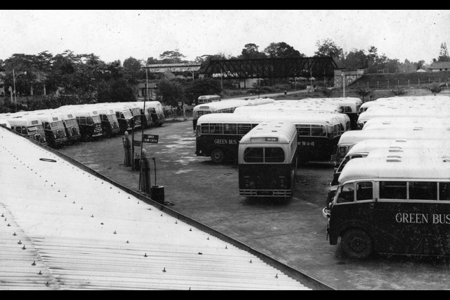 The Green Bus Company bus depot at King Albert Park. Photograph courtesy of Patrick Ong