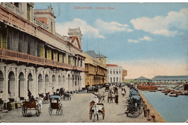 Postcard of Collyer Quay with Johnston's Pier in the background