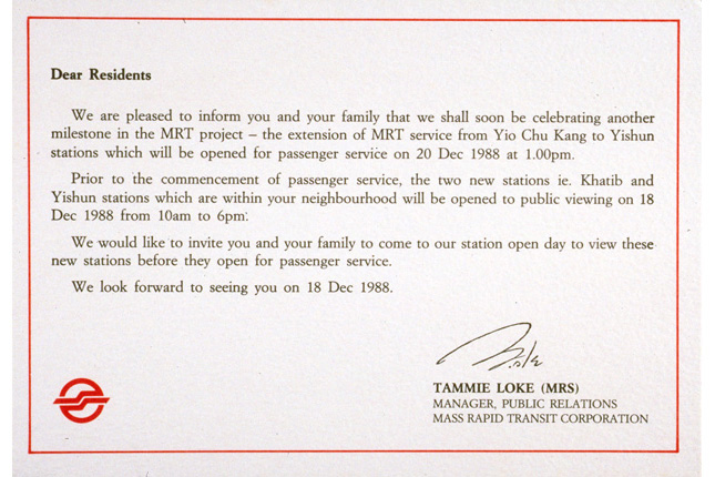 Invitation for Viewing of MRT Stations