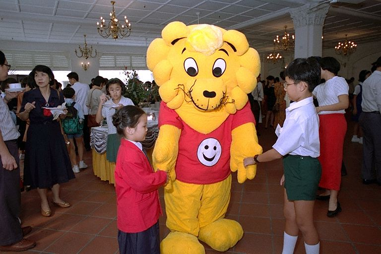 Singa the Lion Mascot mingling with guests attending Friend of Singa Award reception at Jubilee Hall, Raffles Hotel