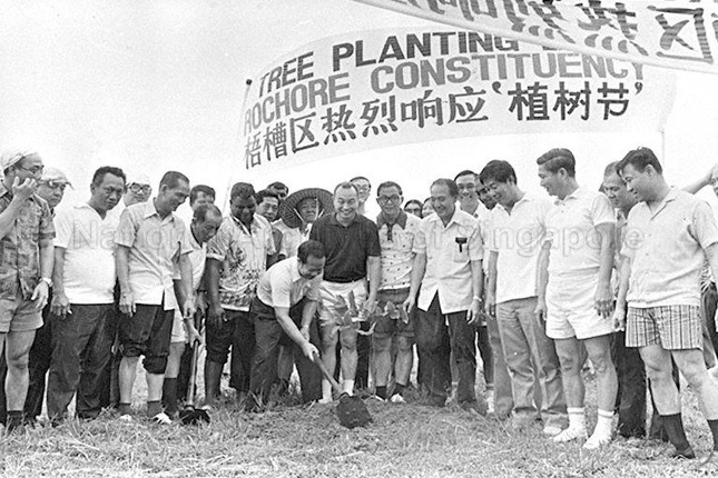 Toh Chin Chye takes part in a tree-planting session