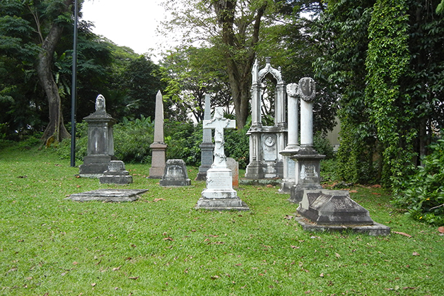 Cemetery Grave Stones at Fort Canning Park