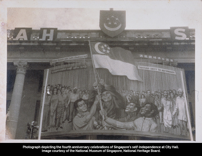 Photograph depicting the fourth anniversary celebrations of Singapore's self-independence at City Hall. Image courtesy of the National Museum of Singapore, National Heritage Board.