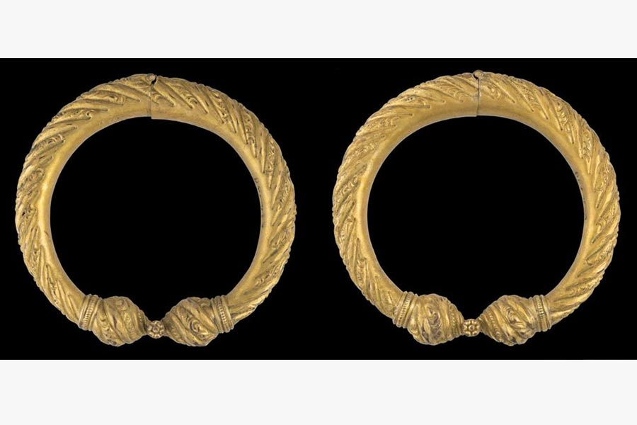 A pair of silambu or anklets collected by Samuel Dhoraisingam and Kamala Devi Dhoraisingam in their efforts to document Chetti Melaka heritage