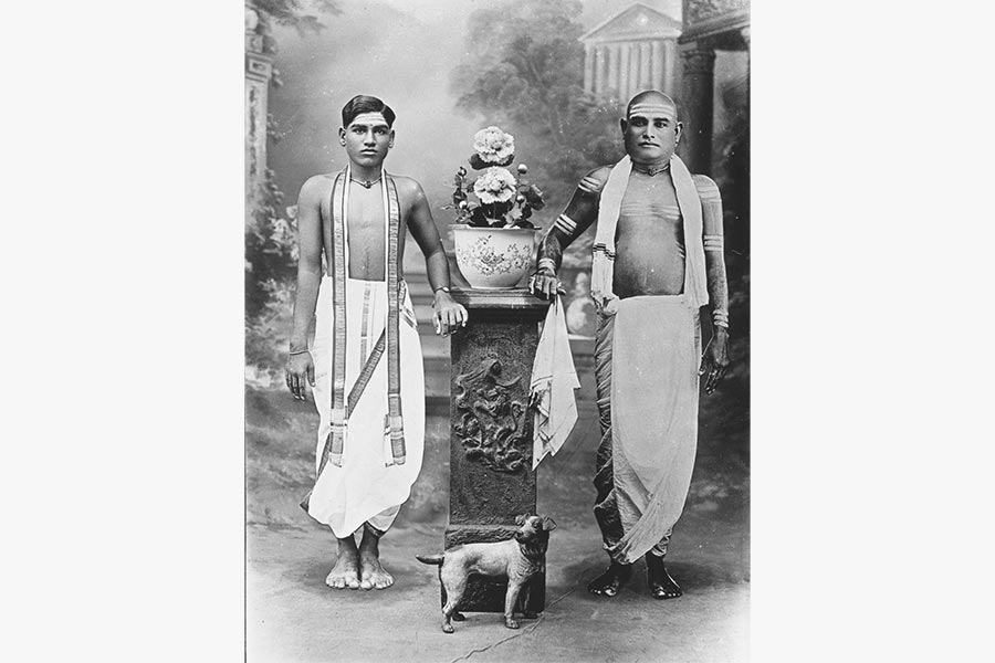 Photograph of Rm V Subramaniam Chettiar with his son Kumarappa Chettiar