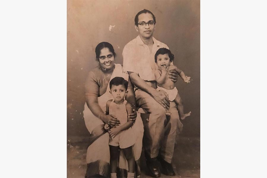 Photograph of Avadai Dhanam with her husband CV Devan Nair and sons Janadas and Janamitra
