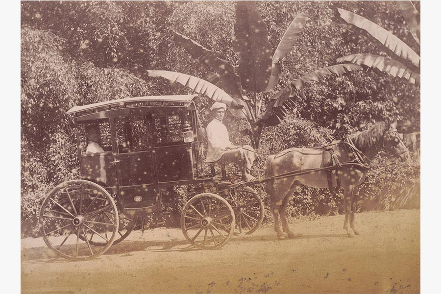 Photograph of Sangoo Thevar riding a gharry or horse carriage as identified by Pushpa Ramanujam