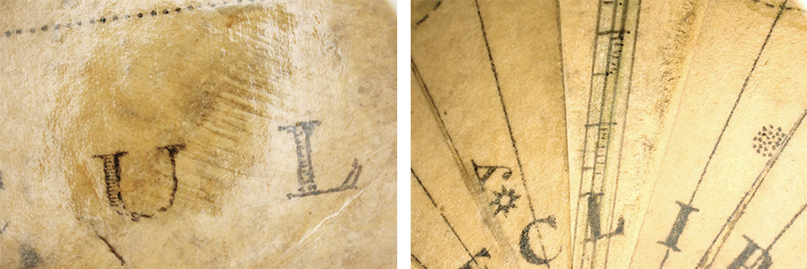 "The original print 'U' and in-painting of ""L"" (left); Repair with new paper and in-painting of lines (right)"