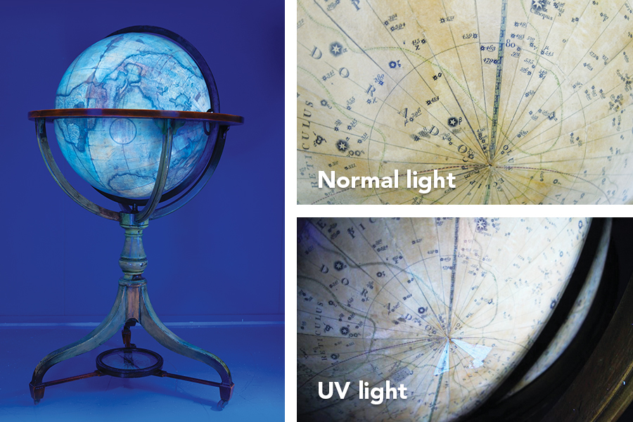 UV-induced visible fluorescence examination