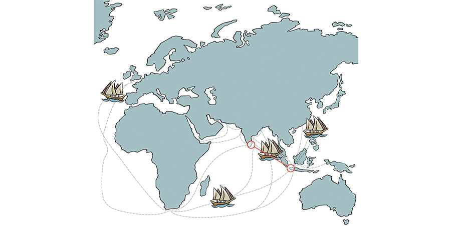 Dutch trade routes during the 18th century, when the fabric for the baju panjang would have been traded between the Coromandel Coast and South Sumatra