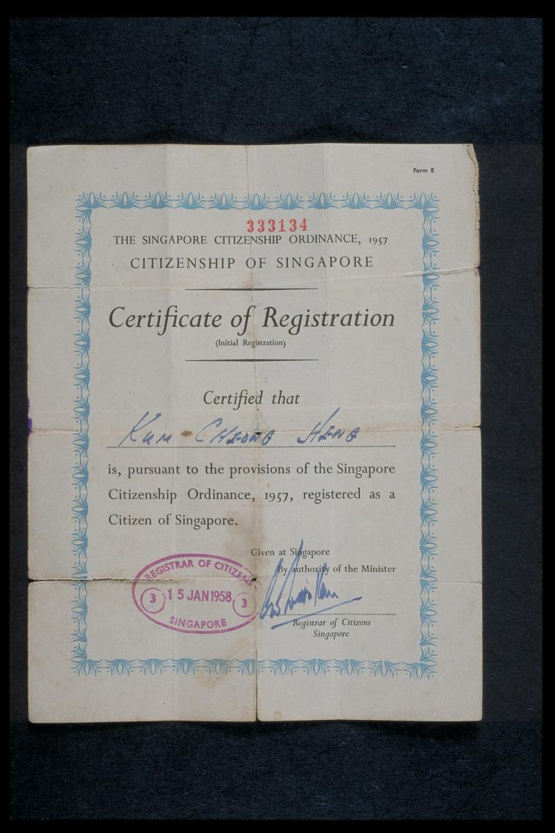 Singapore Citizenship Certificate Of Registration