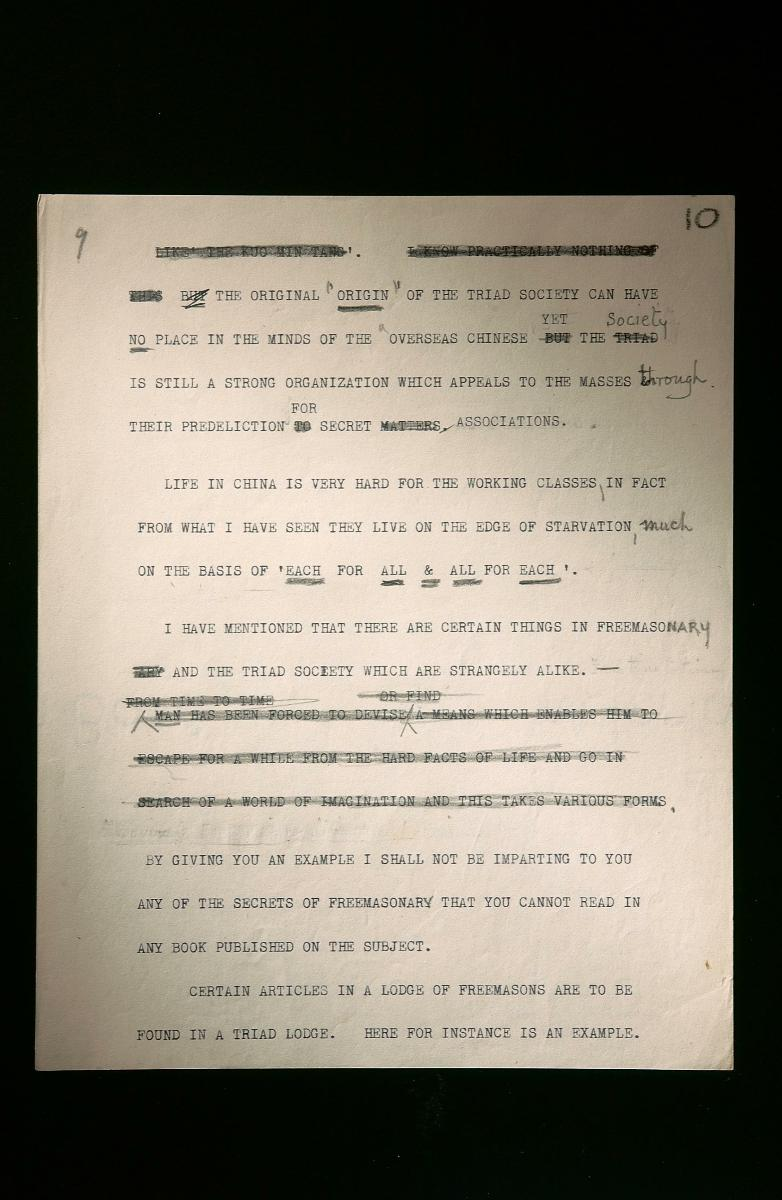 William Stirling's notes on Chinese secret societies in Singapore
