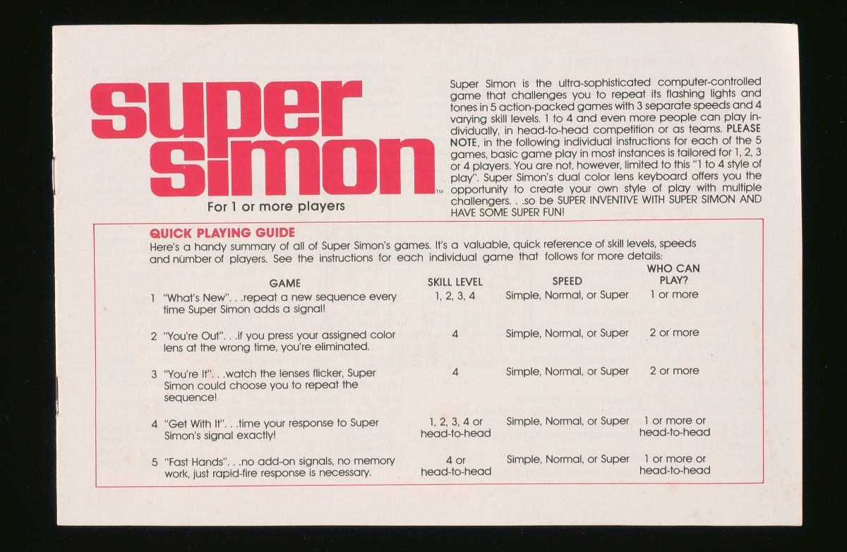 Instructions Manual For Super Simon Electronic Game Set