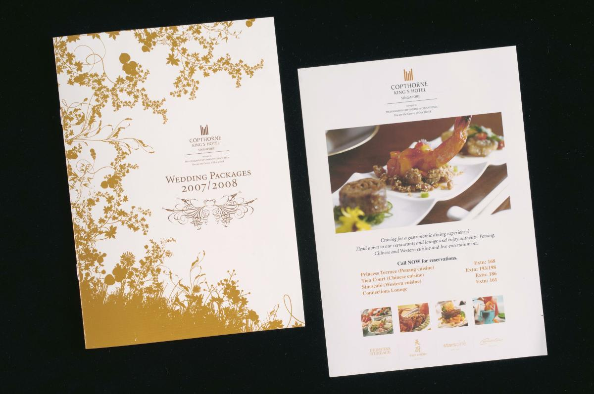 Wedding packages booklet and advertisement from Copthorne King's Hotel