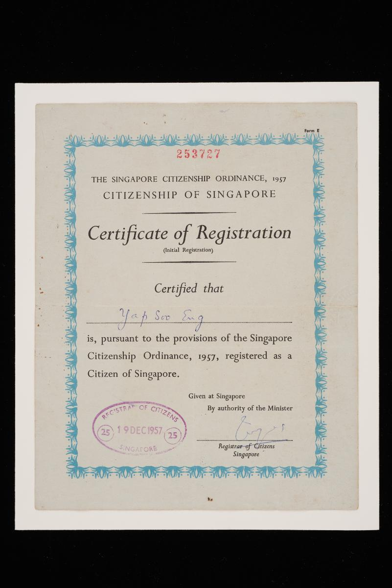 Certificate Of Registration For Singapore Citizenship