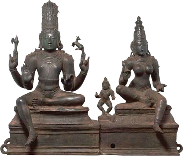 Somaskanda, Shiva with Parvati and their son Skanda, Tamil Nadu, south India, Chola period, c. 1200, bronze