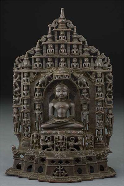 Shrine with Sumatinatha, the fifth Jain Tirthankara, Gujarat or Kathyawar, India, 13th century, bronze inlaid with silver and copper