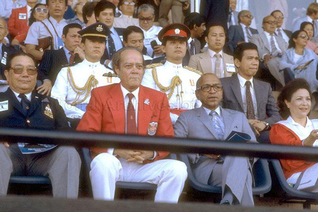 E W Barker with Devan Nair at a football final in 1983 at the National Stadium