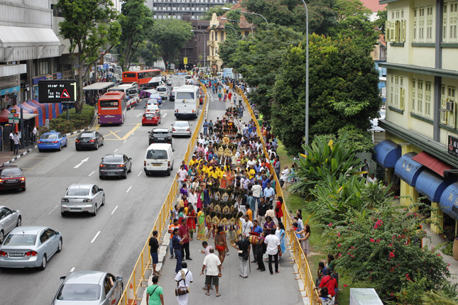 Thaipusam Procession along Selegie Road