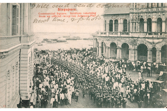 Madras Infantry Regiment marching through Commercial Square