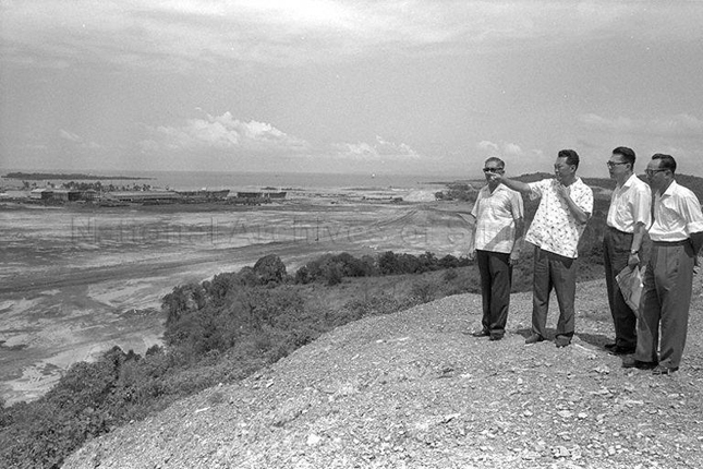 Prime Minister Lee Kuan Yew with EDB Chairman surveying what was to become the Jurong Industrial Estate