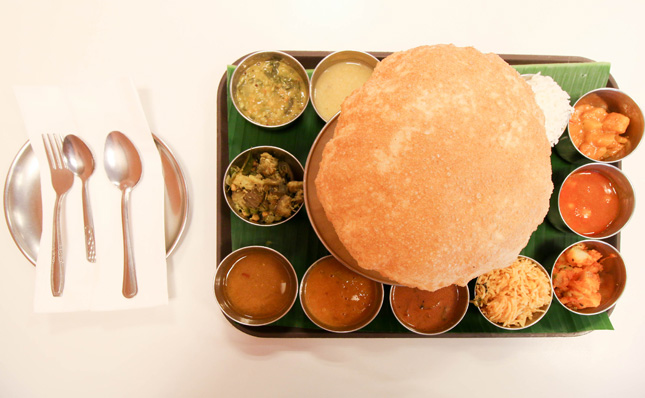 Thali with Battura bread at Madras New Woodlands.