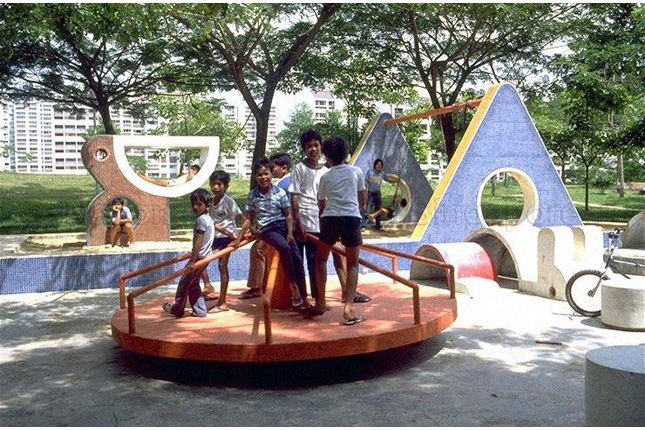 Children playing at playground of Bedok Reservoir HDB Estate