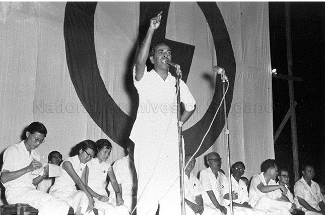 S Rajaratnam speaking at the 1959 General Elections