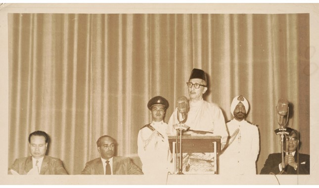 Yusof Ishak giving a speech in 1962