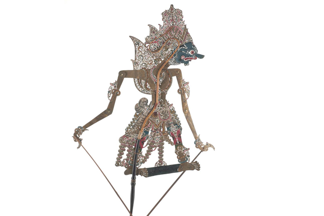 Shadow puppet representing the character Rahwana from Hindu epic Ramayana, as performed in Javanese wayang kulit