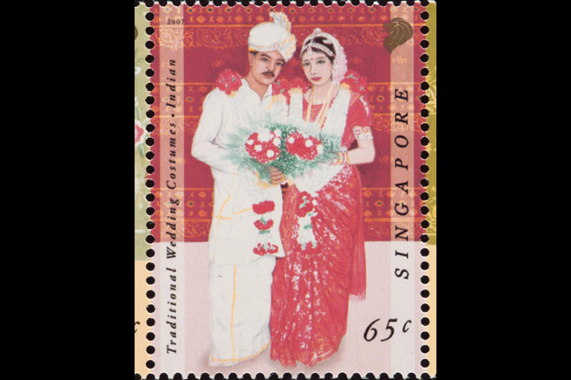 Stamp featuring traditional Indian wedding costumes