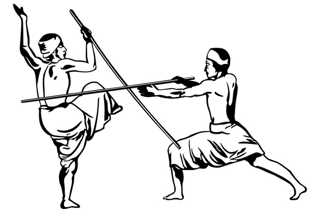Silambam practitioners in action