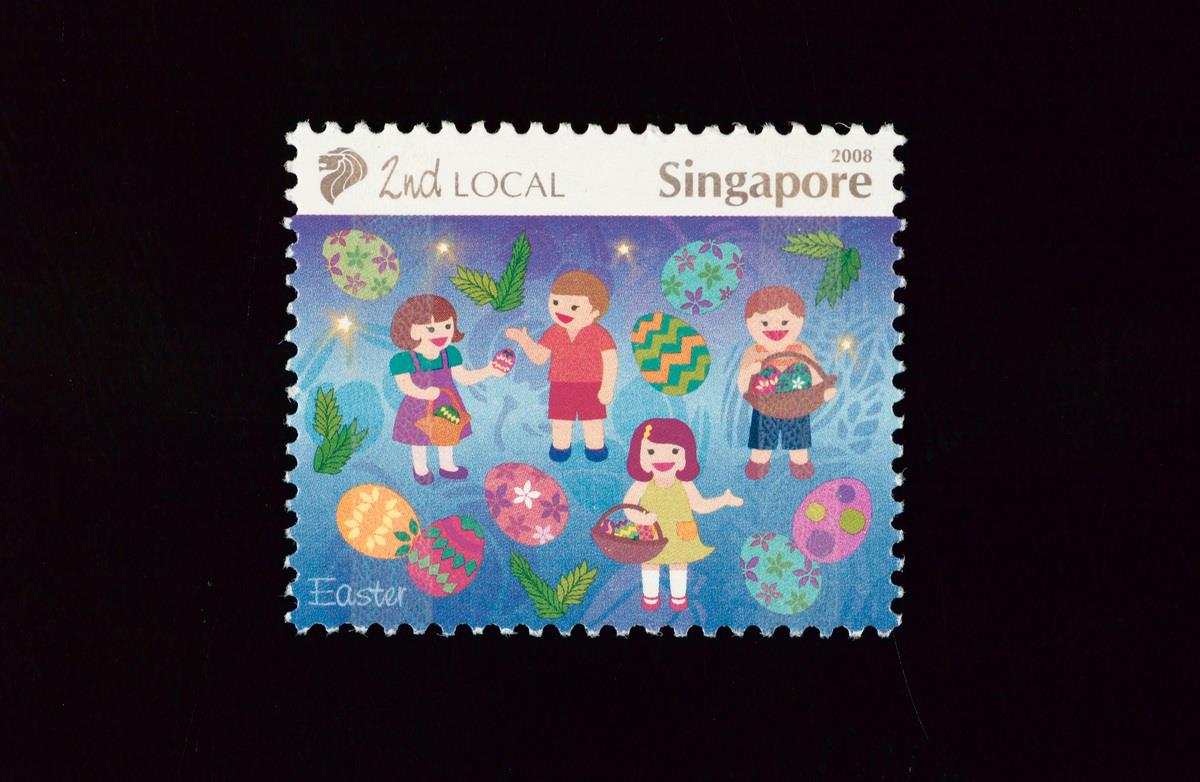 Easter as featured on a stamp in Singapore, issued by Singapore Post in 2008 to depict Singapore's rich and vibrant multicultural heritage.