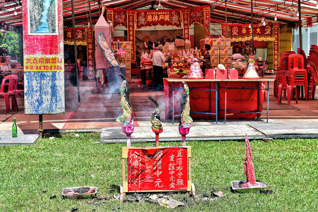Hungry Ghost Festival celebrations are typically held in heartland estates, where many Singaporeans reside